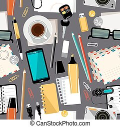 Workplace seamless pattern office background