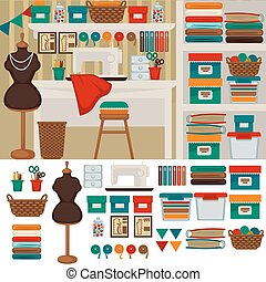 Workplace seamstress interior and furniture for tailoring -...
