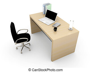 Workplace - A office workplace. 3D rendered Illustration....