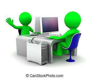 workplace, számítógép, járatos, két, befog