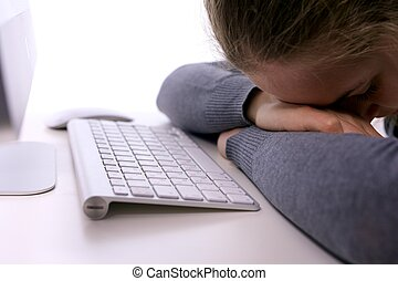 workplace., tension, somnolent, étudiant