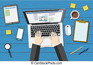 workplace - top view - flat design - laptoop blue - desk vector