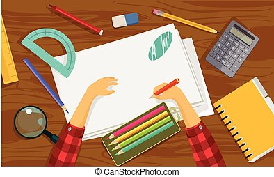 Workplace. Vector flat illustration