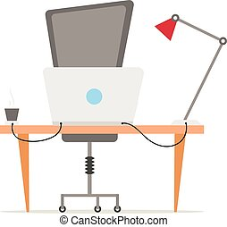 Workplace vector illustration in flat style. Modern office furniture. Table, chair, laptop, binders, cup