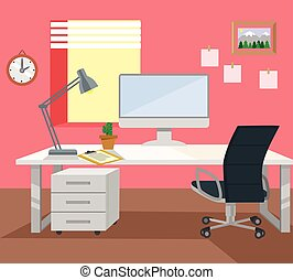 workplace., vektor, lägenhet, illustration