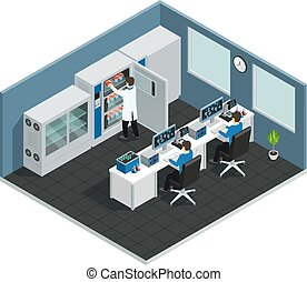 workplace, vetenskaplig, isometric, laboratorium