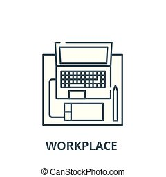 Workplace with a laptop vector line icon, linear concept, outline sign, symbol