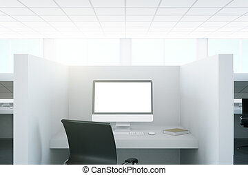 Workplace with blank pc screen
