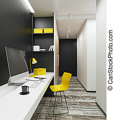 Workplace with clean computer in contemporary interior