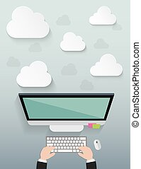 Workplace with cloud idea