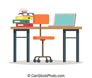 Workplace with Computer and Docs Flat Style Vector