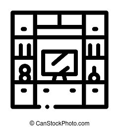 Workplace with Computer Icon Vector Outline Illustration