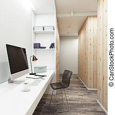 Workplace with empty computer in contemporary interior