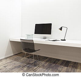 Workplace with empty computer in modern interior