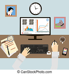 Workplace with Hands and Infographic in Flat Design Style...