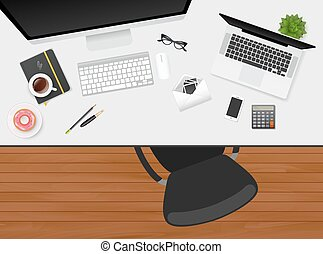Workplace with isolated objects - Vector illustration of...