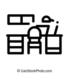 Workplace with Lamp Icon Vector Outline Illustration