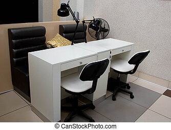 Workplace with lamps on the table, office