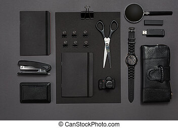 Workplace with office items and business elements on a desk. Concept for branding. Top view.