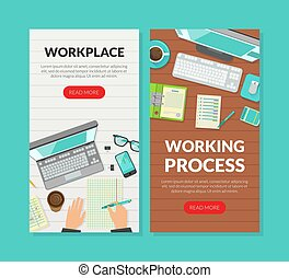 Workplace, Working Process Landing Page Templates Set, Top View of Working Space, Remote Job, Home Office Homepage, Website Flat Vector Illustration