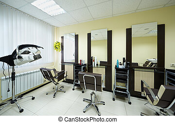 Workplaces in the barbershop cabinet in the beauty salon