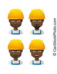 workres, set, maschio, cartone animato, avatar