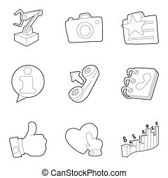Workroom icons set, outline style - Workroom icons set. ...