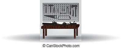 workroom with hand tools and workbench eps10