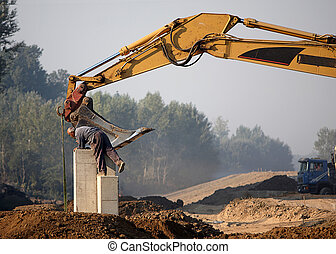 works at construction site