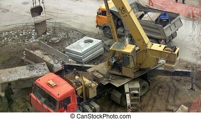 Works at the construction site. Constructing a new building. Substructure work