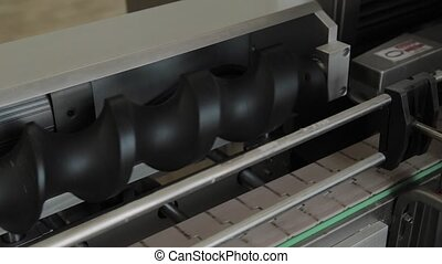 Works pipeline in the factory. Conveyor belt, machine parts....