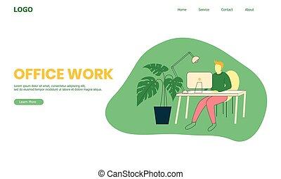 work's, uomini, scrivania, sito web, lavorando ufficio, illustrazione, workspace