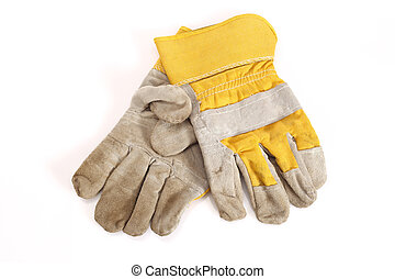 protective gloves - Works yellow protective gloves on white
