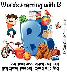 worksheet, デザイン, b, 始める, 言葉