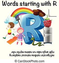 worksheet, デザイン, r, 始める, 言葉