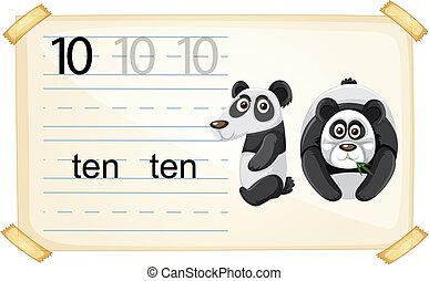 worksheet, 数, 10, パンダ