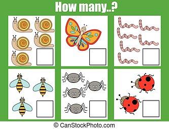 worksheet., 计数, 教育, 对象, 游戏, 活动, 任务, 孩子, 如何, 许多, 孩子