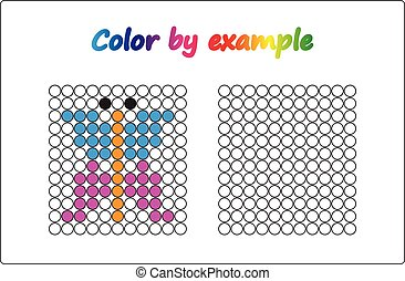 Worksheet.  apple - puzzle task, game for preschool  kids. Color by example. Coloring book. Vector illustration. Paint the circles.