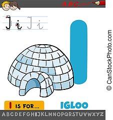 worksheet, caricatura, letra, igloo