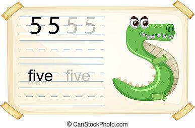 worksheet, cinco, caricatura, animal, número