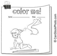 worksheet, coloração, menino