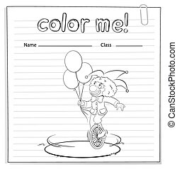 worksheet, coloration, clown