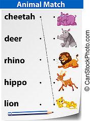 worksheet, combinar, animal, inglês