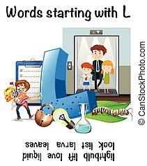 worksheet, começando l, palavras, inglês