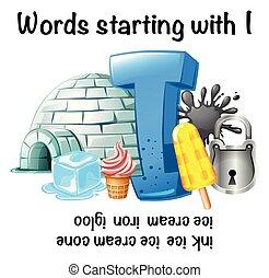 worksheet, começar, palavras, inglês
