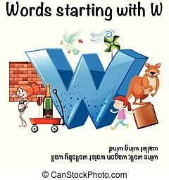 worksheet, começar, palavras, w, inglês