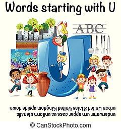 worksheet, começar, u, palavras, inglês