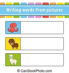 worksheet., développer, jeu, dessin animé, preschool., ...