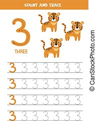 Worksheet for learning numbers with cute elephants. Number three.