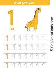 Worksheet for learning numbers with cute giraffe. Number 1.